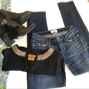 Paige skinny skinny jimmy ankle jeans dark wash